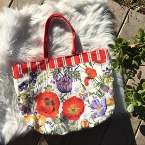 Estée Lauder red white floral tote bag